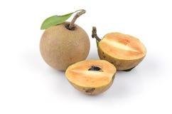 Sapodilla plum, Sapota (Manilkara zapota (L.) P. Royen). Stock Photos
