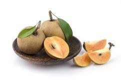 Sapodilla plum, Sapota (Manilkara zapota (L.) P. Royen). Royalty Free Stock Photography