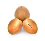 Sapodillafruit op witte achtergrond Stock Afbeeldingen