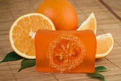 Sapone arancione naturale di handmade Fotografia Stock Libera da Diritti