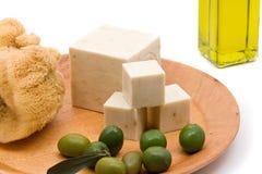 Sapone dell'olio di oliva Fotografia Stock Libera da Diritti