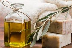 Sapone dell'olio di oliva Fotografie Stock Libere da Diritti