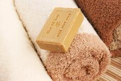 Asciugamani e sapone Fotografie Stock