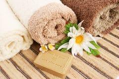 Asciugamani e sapone Immagine Stock Libera da Diritti