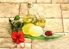 Sapone di Ayurvedic dell'indiano o sapone fatto a mano con le erbe fotografie stock libere da diritti