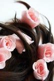 Sapone e capelli marroni Fotografia Stock