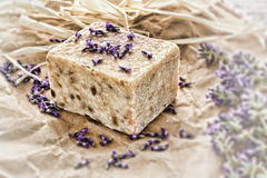 Sapone e lavanda naturali di Aromatherapy Fotografia Stock