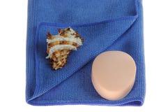 Sapone e seashell del tovagliolo Fotografia Stock Libera da Diritti