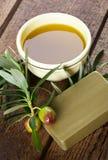 Sapone ed olive di Aleppo Fotografia Stock Libera da Diritti