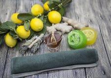 Sapone fatto a mano dello zenzero del limone del miele, composto per i trattamenti della stazione termale Fotografie Stock Libere da Diritti