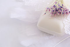 Sapone, piume, merletto e fiore artificiale Fotografia Stock