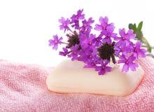 Sapone sul panno rosa del lavaggio Fotografia Stock