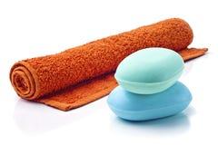 Saponi con l'asciugamano. immagine stock