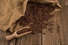 Sapore di caffè e di fondo di legno Fotografia Stock