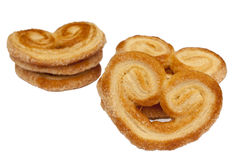 Saporelli Puff Pastry. Heart shaped saporelly, sweet puff pastry, isolated over a white background Royalty Free Stock Photos