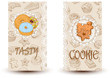 Saporito e biscotti Progetti gli elementi nello stile di schizzo per i negozi del forno e della confetteria Immagini Stock