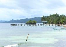 Saporkren Jetty. Wooden small dock in remote coastal area, Saporkren Village, Waigeo Island, Raja Ampat, West Papua stock image