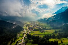 Sappada Italy North-Eastern corner of the Dolomites Alps. Aerial. FPV drone flights stock photos