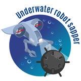 Sapper subaquático Round Background do robô ilustração do vetor