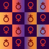 Sapphic Rainbow. The symbol of women on a checkered pattern with navy blue & a warm rainbow Royalty Free Stock Photography