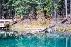 Sapphire blue waters of Mount Loretta Ponds. Kananaskis, Country, Alberta, Canada Stock Image