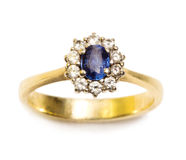 Sapphire and diamond ring Royalty Free Stock Images