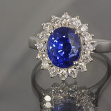 Sapphire and Diamonds Ring Royalty Free Stock Photo