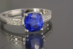 Sapphire and Diamonds ring Stock Photo