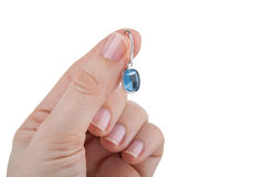 Sapphire earring Royalty Free Stock Photos