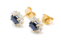 Sapphire earrings Royalty Free Stock Photography