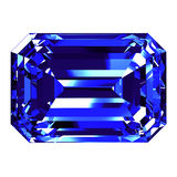 Sapphire Emerald Cut Over White Background Imagens de Stock