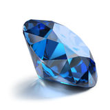 Sapphire. Great magnificent sapphire. 3d image. Isolated white background Stock Photos