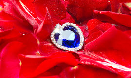 Sapphire heart on Valentine's Day royalty free stock images