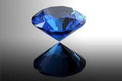 Sapphire. Jewelry gems roung shape on black background Royalty Free Stock Photos
