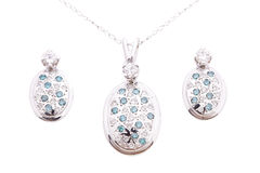 Sapphire Jewelry uppsättning Royaltyfria Foton
