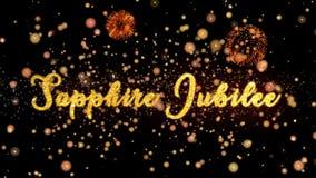 Sapphire Jubilee Abstract-de deeltjes en schitteren de kaarttekst van de vuurwerkgroet royalty-vrije illustratie