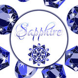 Sapphire label on scattering from gems Royalty Free Stock Photos