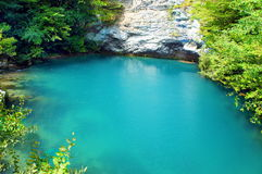 Sapphire Lake. Blue Lake in Abkhazia stock photo