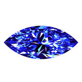 Sapphire Marquise Cut Over White Background Photo stock