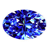 Sapphire Oval Cut Over White-Achtergrond Royalty-vrije Stock Fotografie