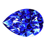 Sapphire Pear Cut Over White-Achtergrond Stock Afbeelding