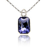 Sapphire pendant isolated on white Royalty Free Stock Photography