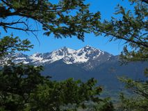 Colorado snow capped mountains stock image