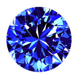 Sapphire Round Cut Over White-Achtergrond Royalty-vrije Stock Foto