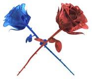 Sapphire Ruby Roses Crossed Fotografie Stock Libere da Diritti