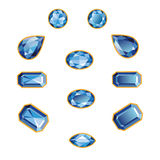 Sapphire Set Isolated Objects. Blue sapphires different cut - round, drop, pear, oval, octagon and race. Brilliant three-dimensional jewelry on a white Stock Image