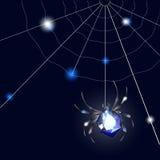 Sapphire Spider e web su fondo nero con le occhiate royalty illustrazione gratis