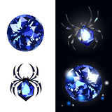 Sapphire Spider- und Saphiredelsteine auf schwarzem Hintergrund mit Blicken Vektor Illustartion stock abbildung