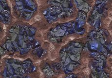 Sapphire Stones Buried Inside the Earth Stock Photos