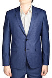 Sapphire suit for men, with texture in small cells, isolated. Royalty Free Stock Image